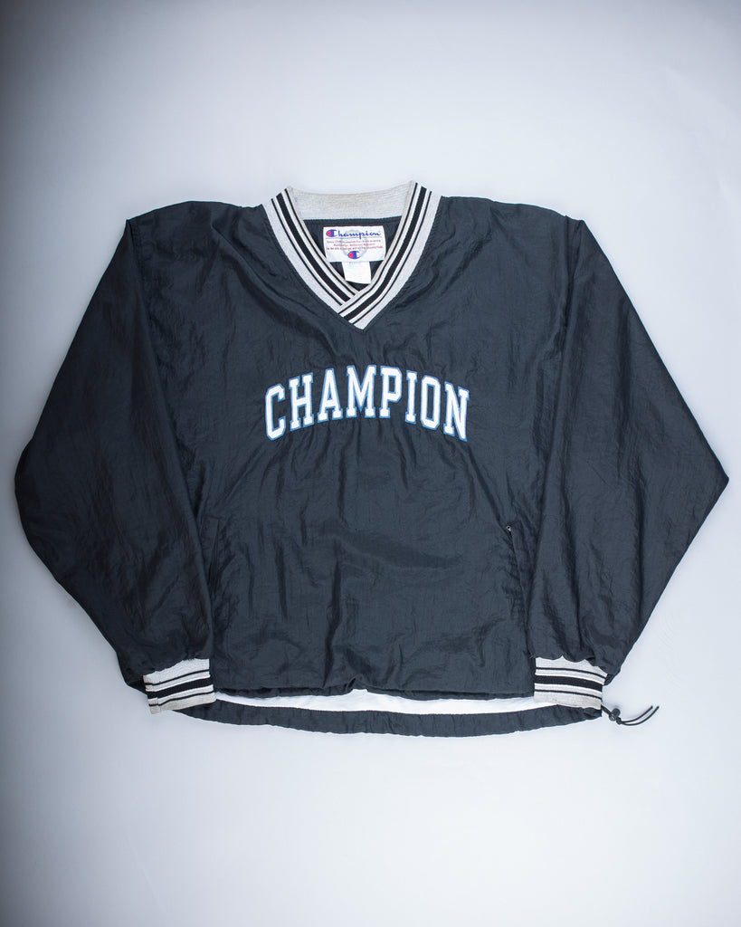 90's Black Champion Spell Out Pullover Windbreaker Jacket