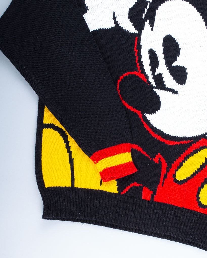 90's Rare Black Mickey Mouse Knitted Jumper