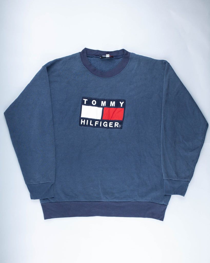 90's Blue Tommy Hilfiger Washed Look Spell Out Sweatshirt