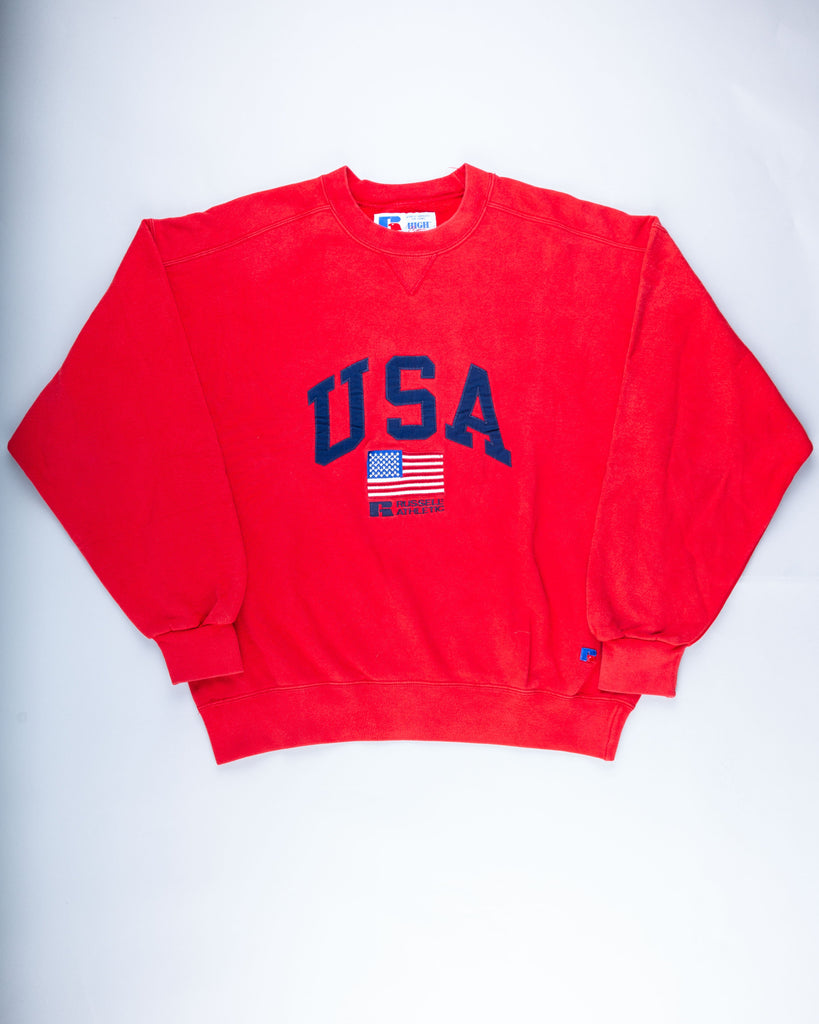 90's Red Russell Athletic Embroidered USA Flag Sweatshirt