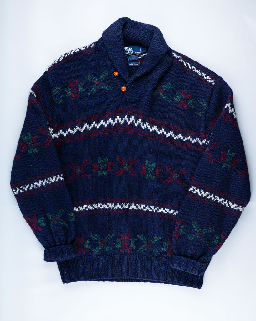 90's Polo by Ralph Lauren Blue Button Up Pullover Jumper