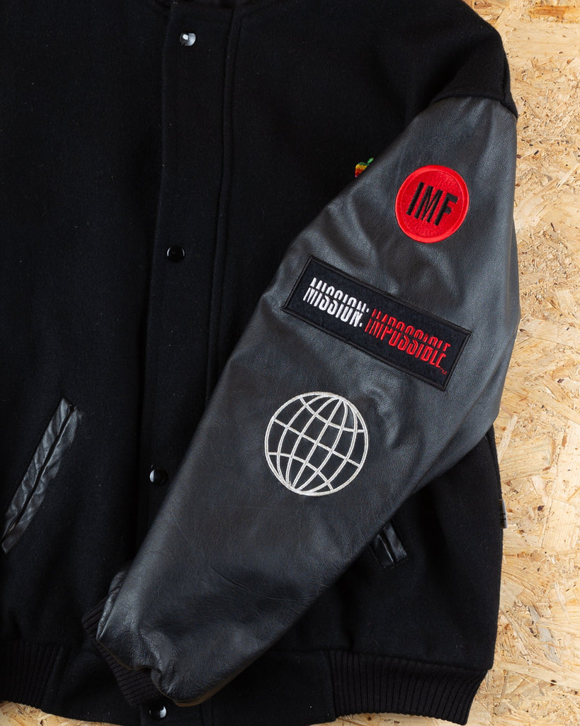 90's USA Black Rare Filmcrew Mission Impossible Varsity Jacket