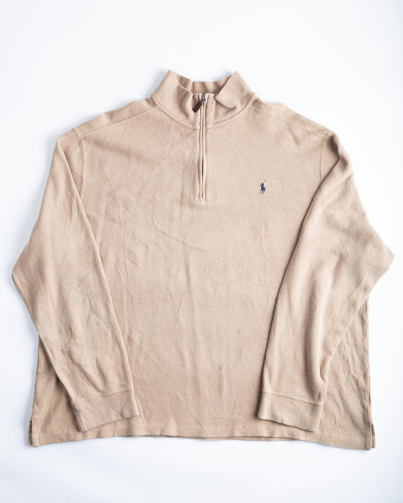 90's Polo by Ralph Lauren Brown 1/4 Zip Up Jumper