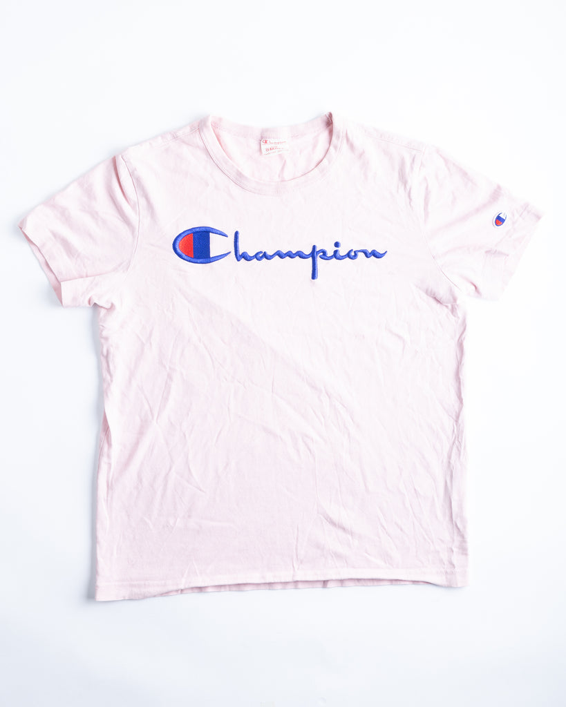 '90s Champion Pink Embroidered Logo T-Shirt