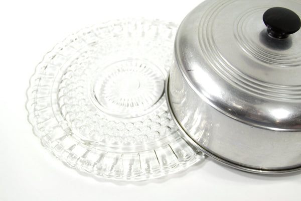 Vintage Glass and Aluminum Cake Carrier