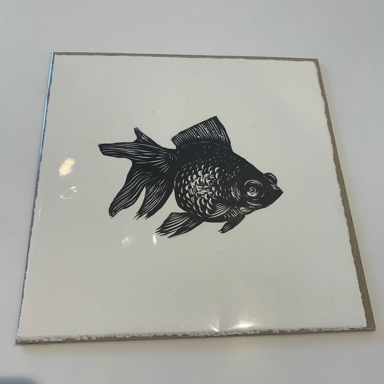 Fish small square print