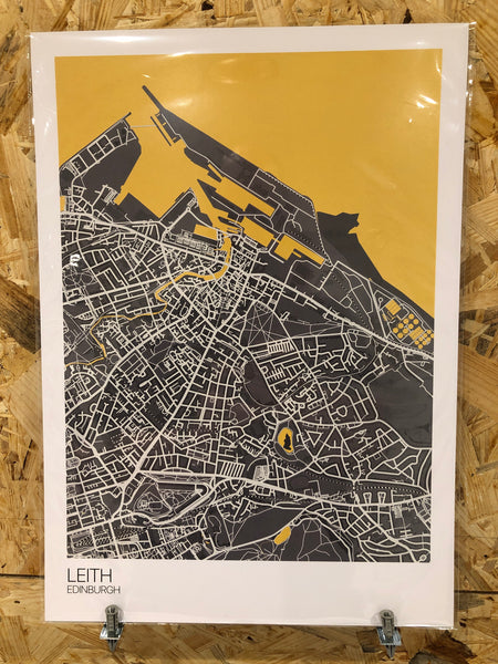 Leith - A3 Dark Grey & Yellow - Logan Malloch