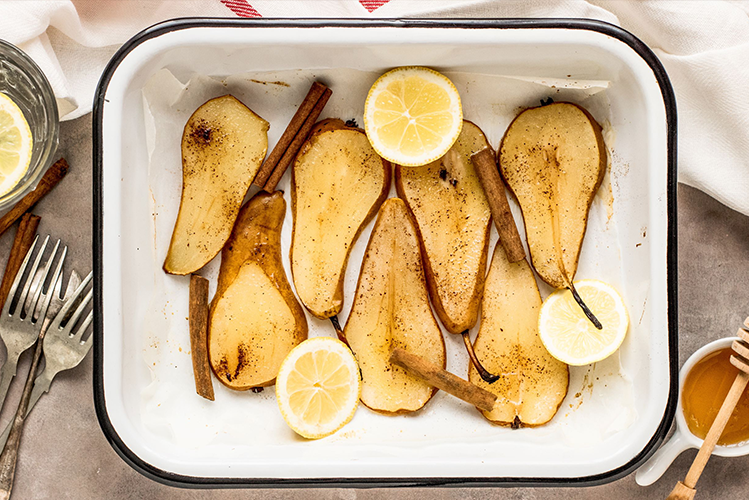 Oven-Poached Lemon and Honey Glazed Pears