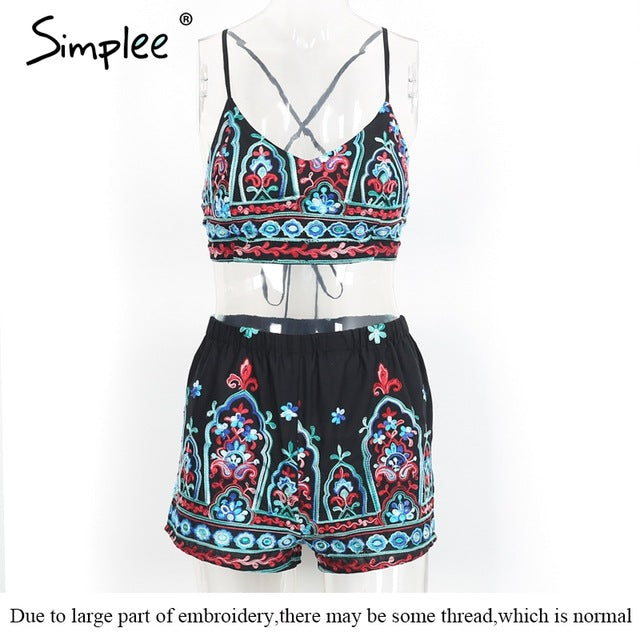 32276f874dd5 Simplee Embroidery flower elegant jumpsuit romper V neck strap summer  jumpsuit women outfit Sexy 2017 beach