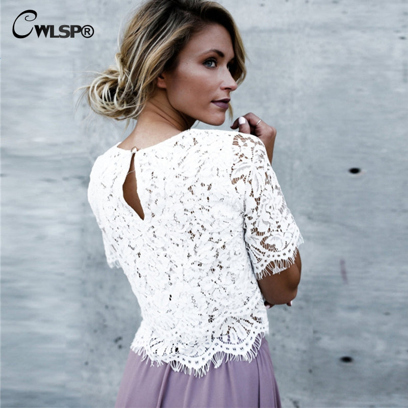 White Lace Tops with Sleeves