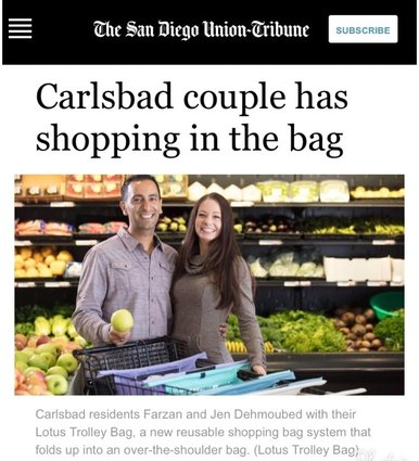 Lotus Trolley Bags featured in SAN DIEGO UNION TRIBUNE