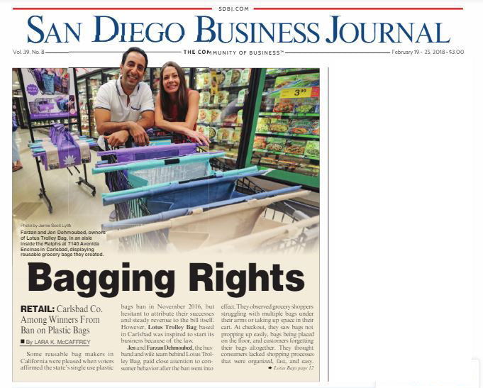Lotus Trolley Bags featured in SAN DIEGO Business Journal
