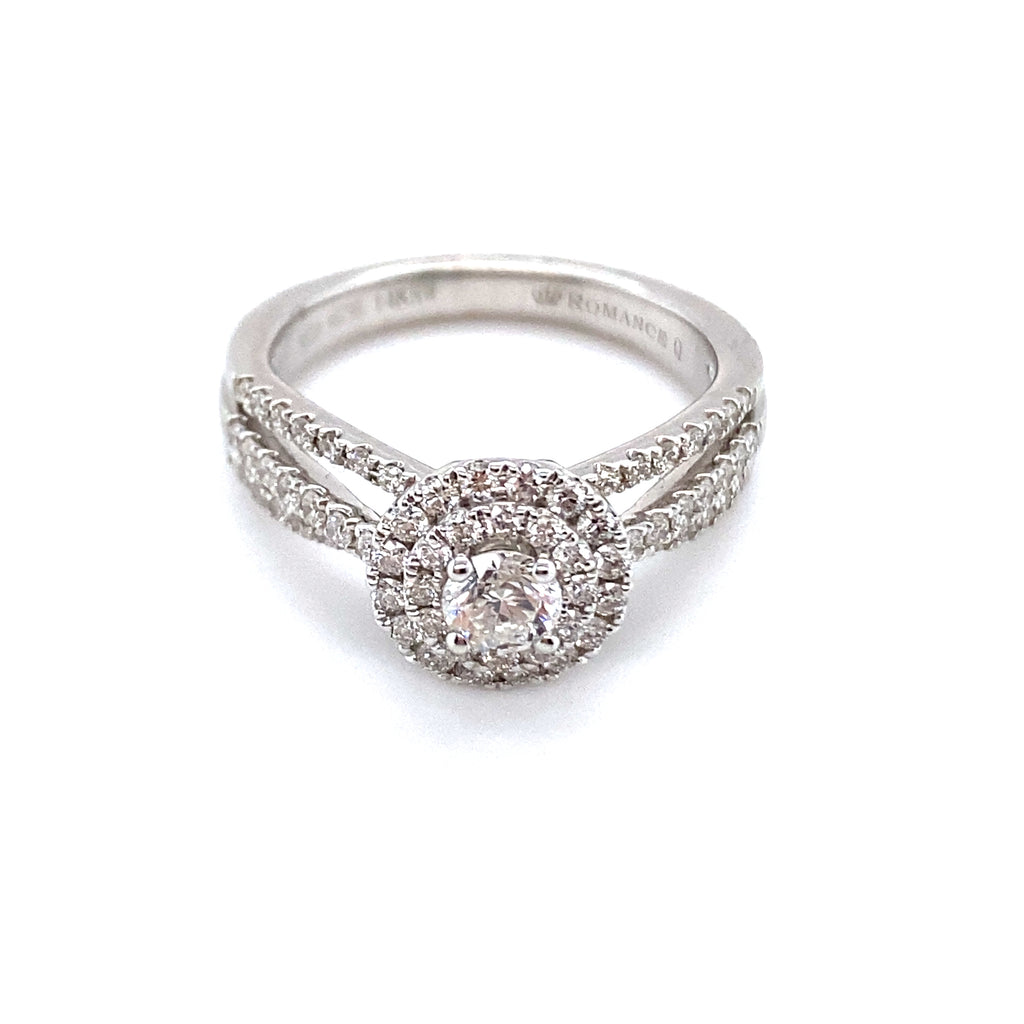 Round Diamond & Double Halo Engagement Ring