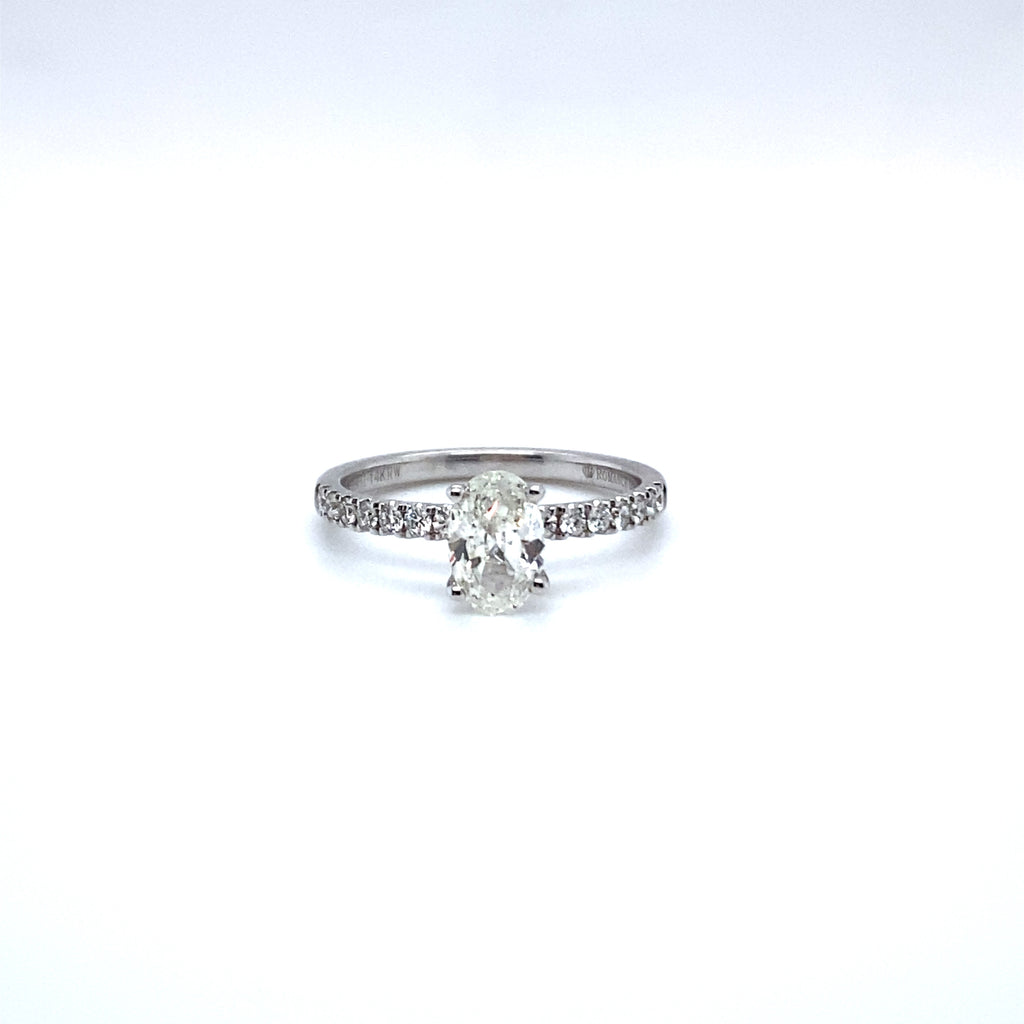 Oval Diamond & Diamond Shank Engagement Ring