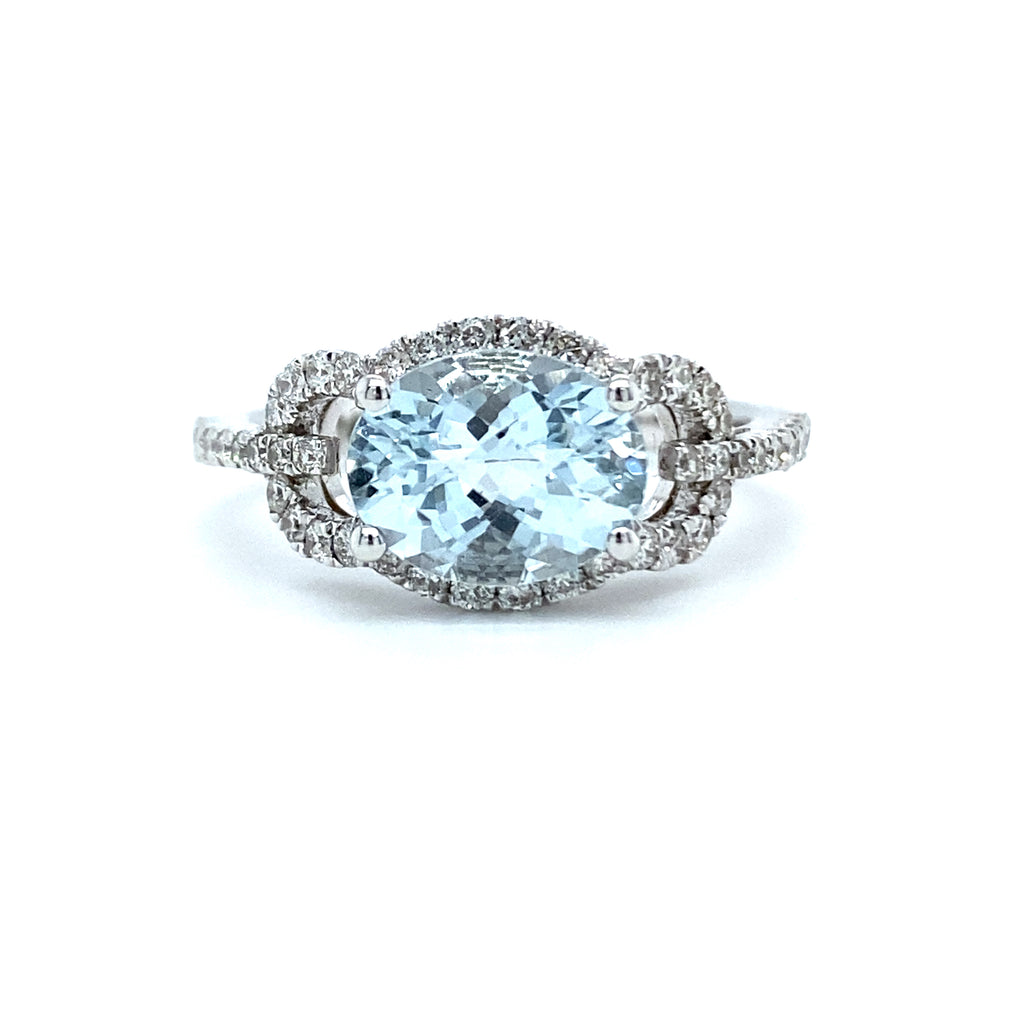 Oval Aquamarine & Diamond Ring