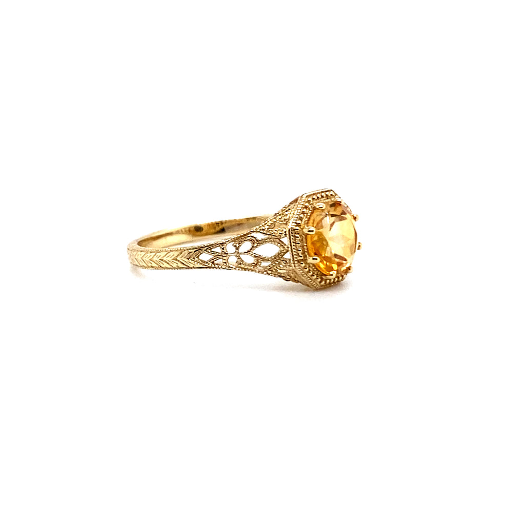 Citrine Filigree Ring - Yellow or White Gold