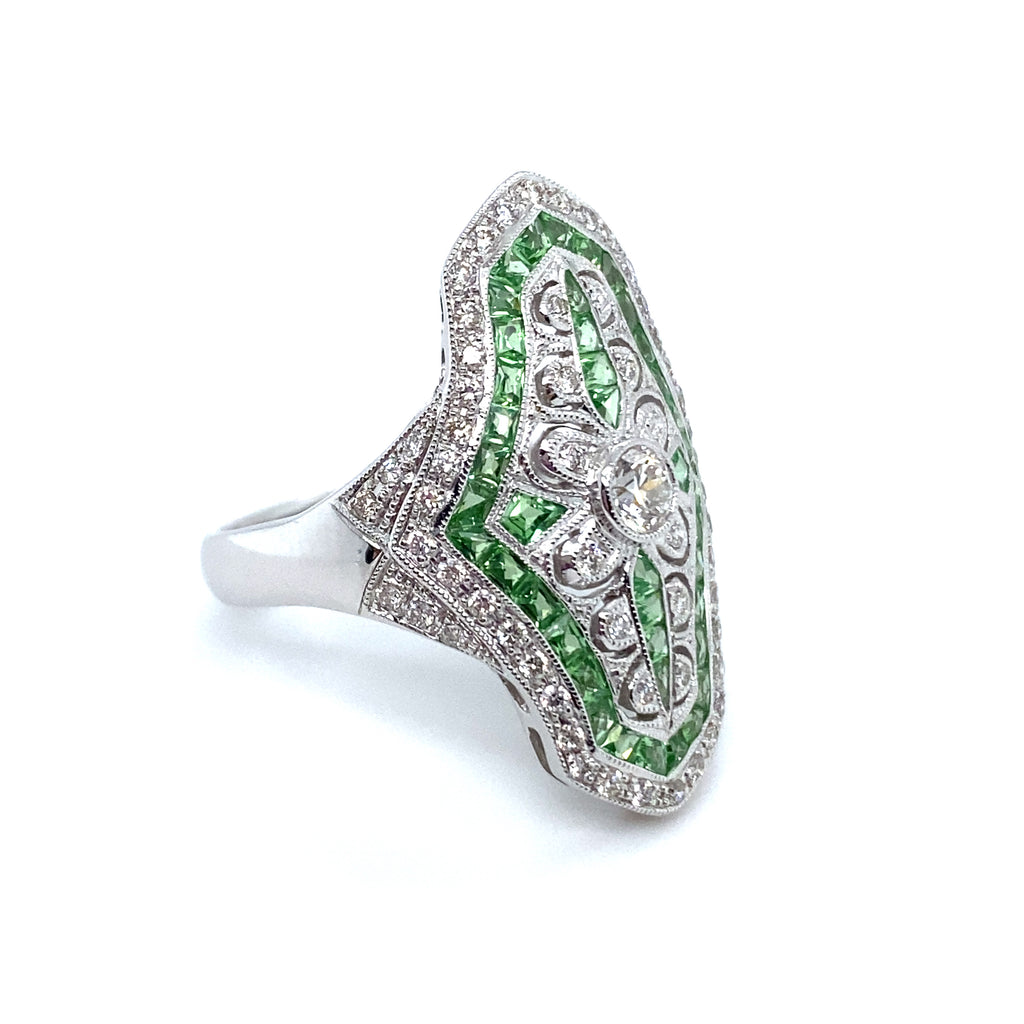 Tsavorite Garnet & Diamond Filigree Ring
