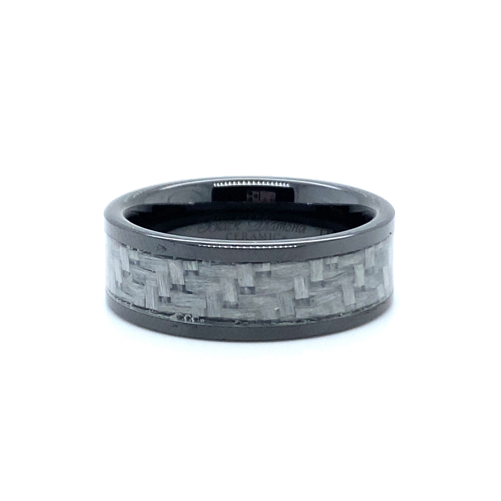 Men's Black Ceramic & Carbon Fiber Ring
