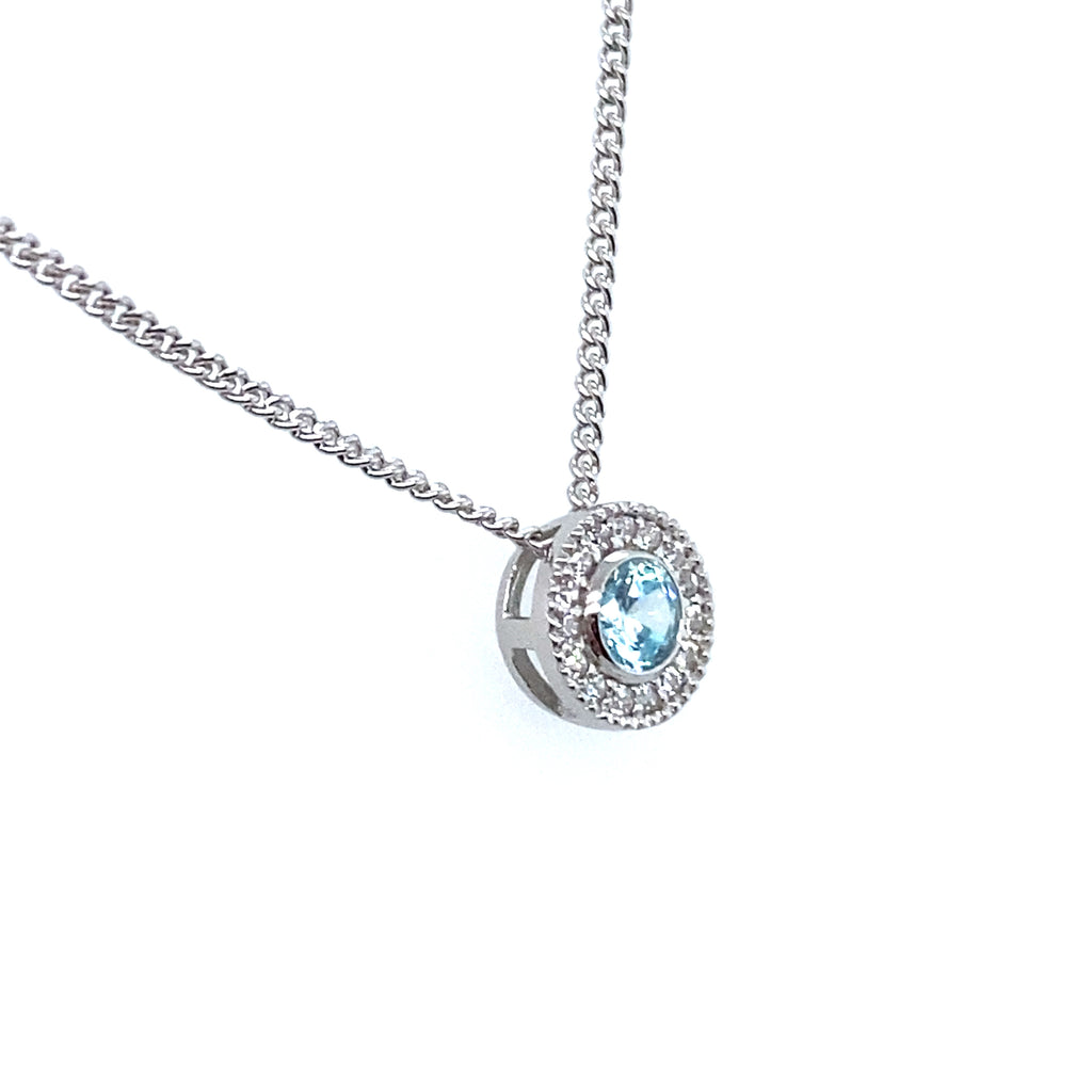 Round Aquamarine Necklace