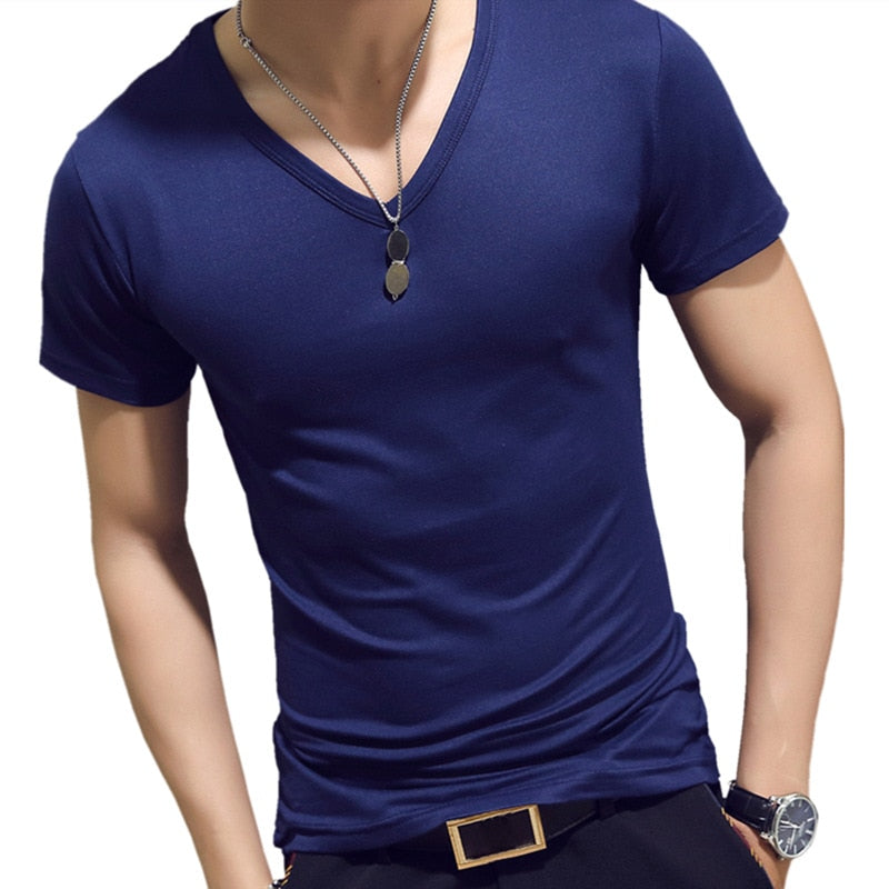 Elastic V-Neck T-Shirt