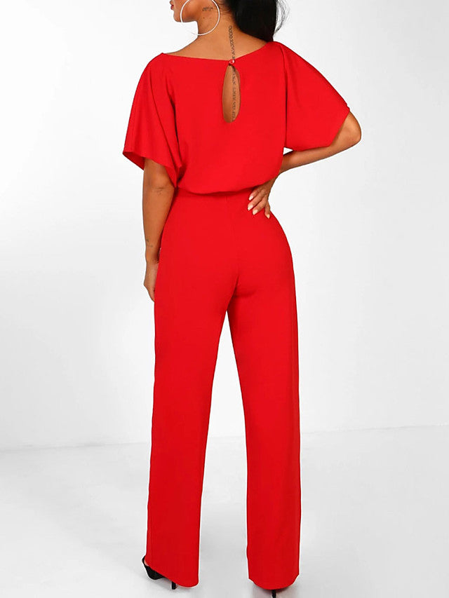 Women's Casual Chic & Modern Daily Going out Black Blue Red Jumpsuit Belted