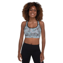 Load image into Gallery viewer, Blossom and Wren Blue Illustrated Padded Sports Bra - BlossomandWren