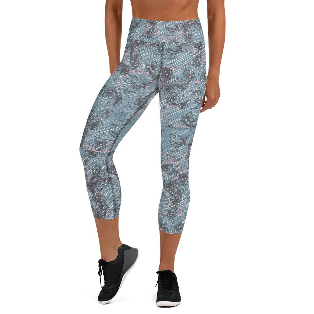 Blossom and Wren Blue illustrated Yoga Capri Leggings - BlossomandWren