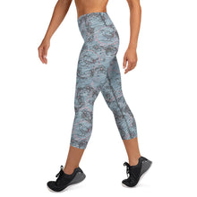 Load image into Gallery viewer, Blossom and Wren Blue illustrated Yoga Capri Leggings - BlossomandWren