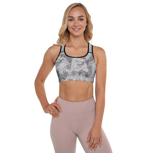 Blossom and Wren grey illustrated Padded Sports Bra - BlossomandWren