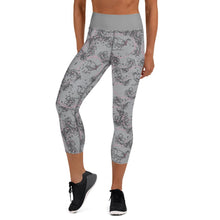 Load image into Gallery viewer, Blossom and Wren grey illustrated yoga capri leggings - BlossomandWren