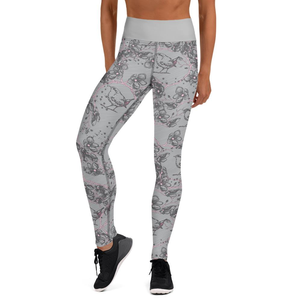 Blossom and Wren grey Illustrated Yoga Leggings - BlossomandWren