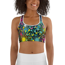 Load image into Gallery viewer, Electric Bloom Sports bra - BlossomandWren