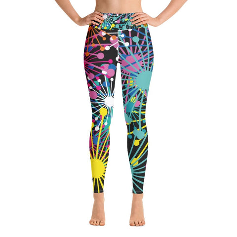 Electric Bloom Yoga Leggings - BlossomandWren