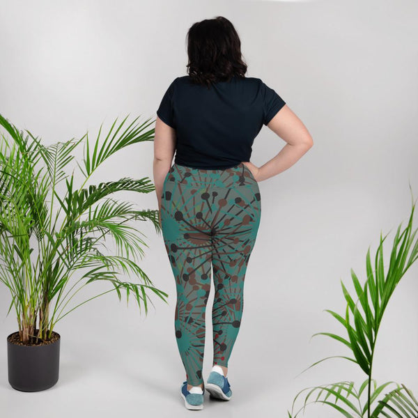 Green bloom print leggings - BlossomandWren