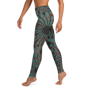 Green Bloom print yoga leggings - BlossomandWren