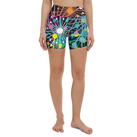 Electric Bloom Yoga Shorts