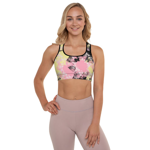 Pastel Abstract Padded Sports Bra