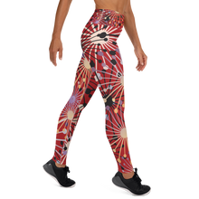 Load image into Gallery viewer, Red Bloom Yoga Leggings