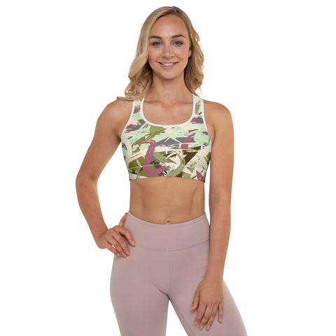 Camo abstract Padded Sports Bra