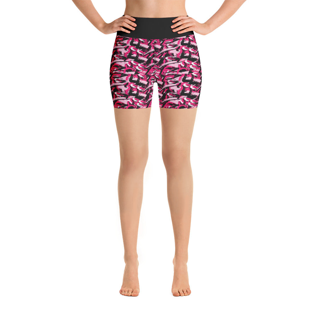 Red abstraction Yoga Shorts