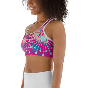 Pink Bloom Print Sports Bra - BlossomandWren