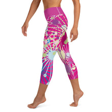 Load image into Gallery viewer, Pink Bloom Yoga Capri Leggings - BlossomandWren