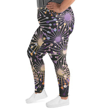Load image into Gallery viewer, Purple Bloom Print Plus Size Leggings - BlossomandWren
