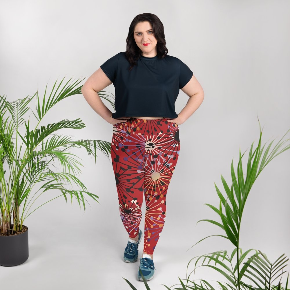 Red Bloom All-Over Print Plus Size Leggings - BlossomandWren