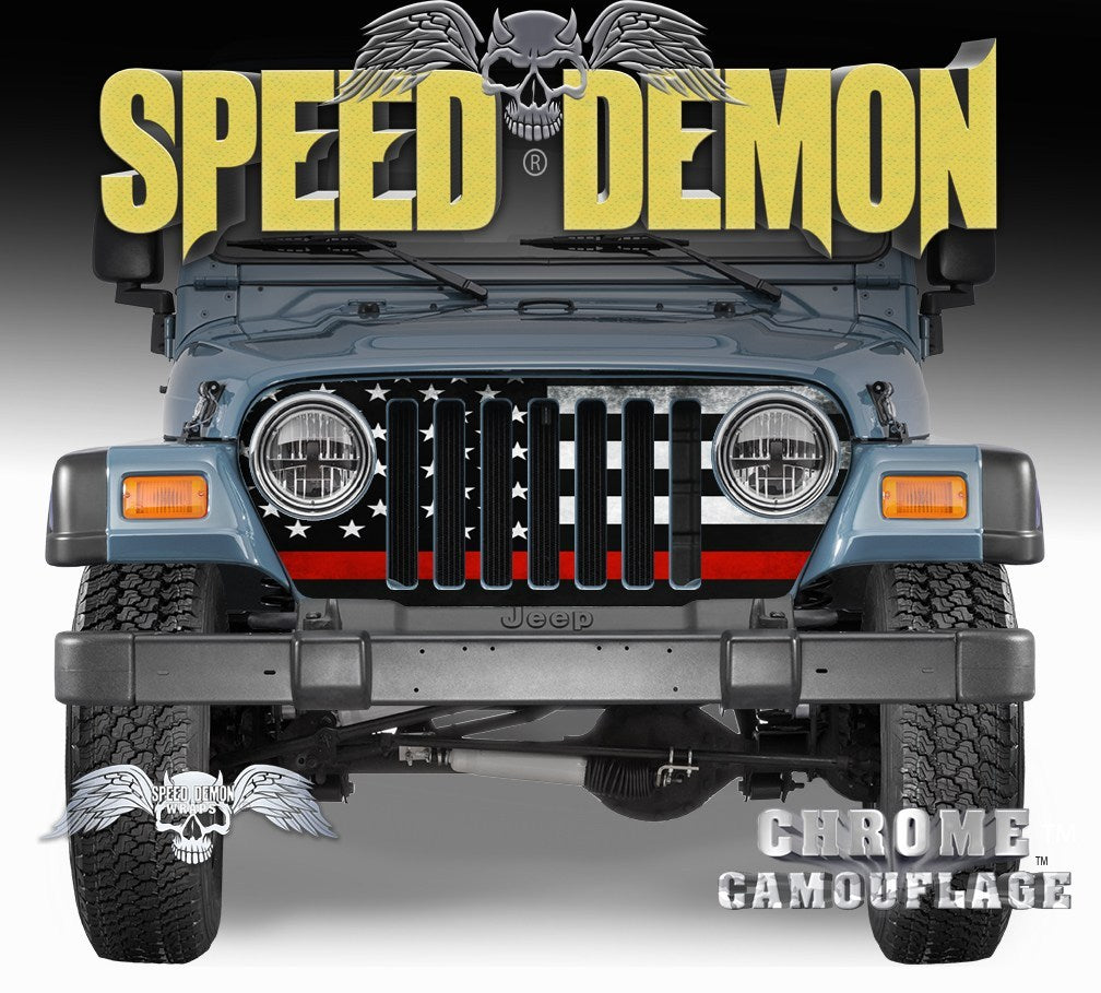 1997-2006 Jeep Grill Wraps American Flag Subdued Red Line - Speed Demon Wraps