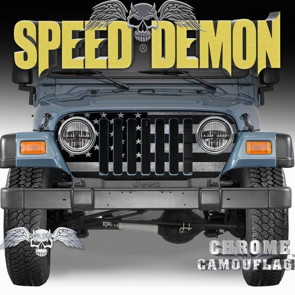 1997-2006 Jeep Grill Wraps American Flag Subdued - Speed Demon Wraps