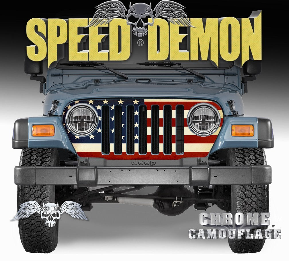 1997-2006 Jeep Grill Wraps American Flag - Speed Demon Wraps