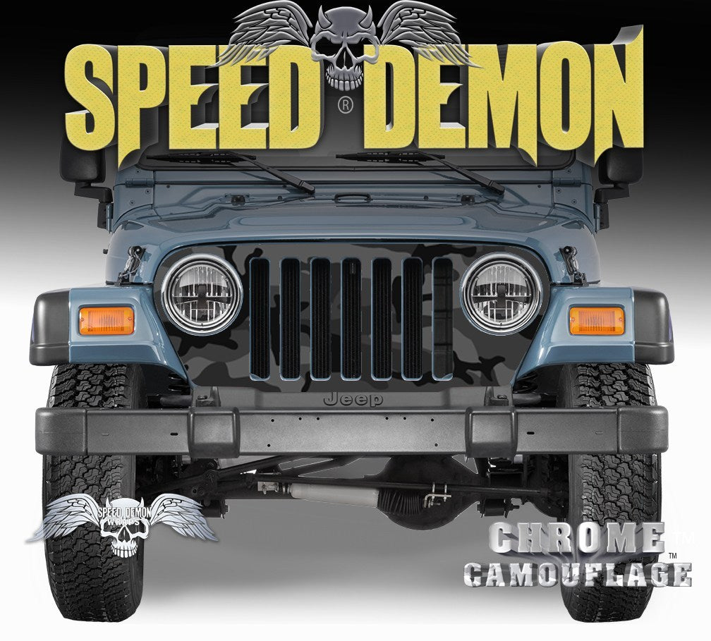 1997-2006 Jeep Grill Wraps Black Urban Camouflage Camo - Speed Demon Wraps
