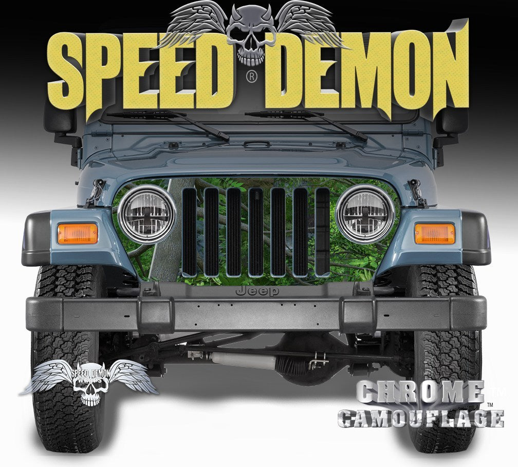 1997-2006 Jeep Grill Wraps True forest Camouflage Camo - Speed Demon Wraps