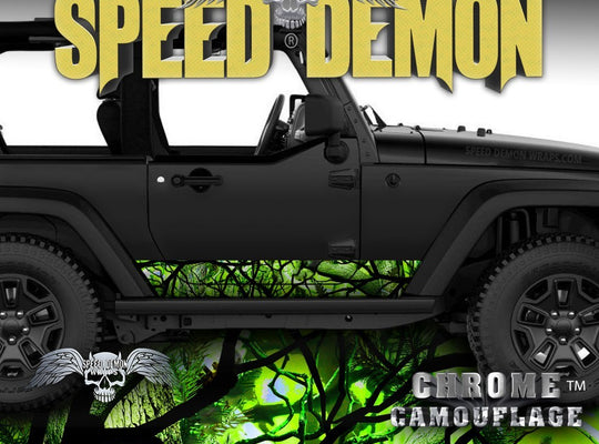 1997-2017 2 Door Jeep Wrangler Rocker-Wraps Camouflage Zombie-Bile - Speed Demon Wraps